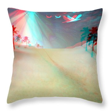 Silent Night - Red And Cyan 3d Glasses Required Throw Pillow by Brian Wallace