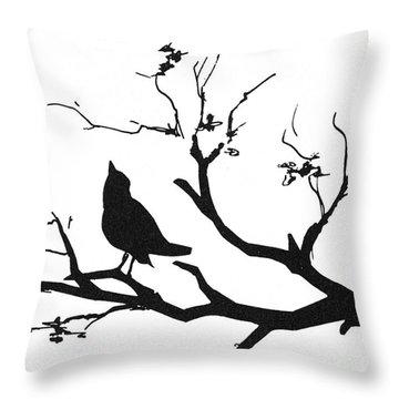 Silhouette: Bird On Branch Throw Pillow by Granger