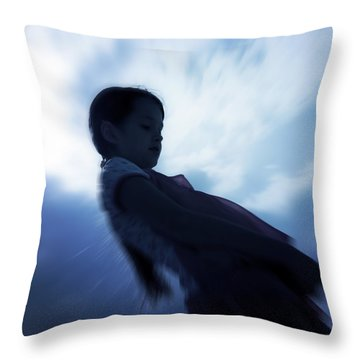 Silhouette Of A Girl Against The Sky Throw Pillow by Joana Kruse