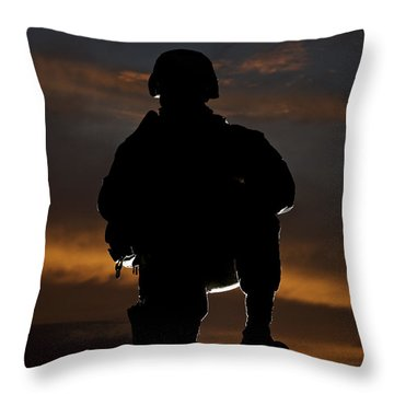 Silhouette Of A U.s. Marine In Uniform Throw Pillow by Terry Moore
