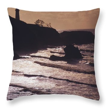 Silhouette Of Lighthouse Throw Pillow by Craig Tuttle