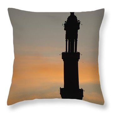 Silhouette Of Mosque At Dawn Throw Pillow by Axiom Photographic