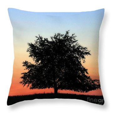 Make People Happy  Square Photograph Of Tree Silhouette Against A Colorful Summer Sky Throw Pillow