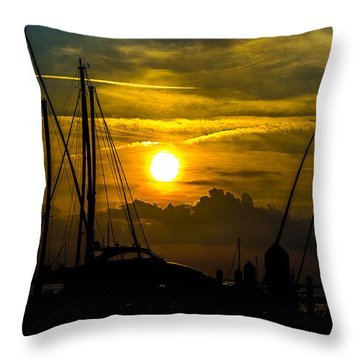 Silhouettes At The Marina Throw Pillow by Shannon Harrington