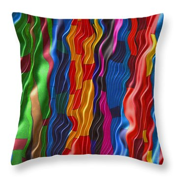 Silk Colours Throw Pillow by Susan  Epps Oliver