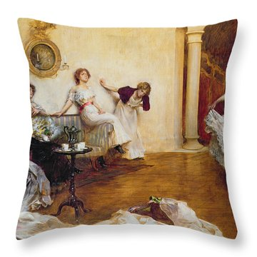 Silks And Satins Throw Pillow by Albert Chevallier Tayler
