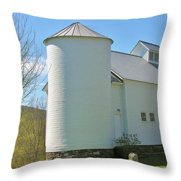 Throw Pillow featuring the photograph Vermont Silo And Barn  by Sherman Perry
