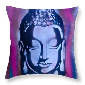 Silver Buddha Throw Pillow by Tony B Conscious