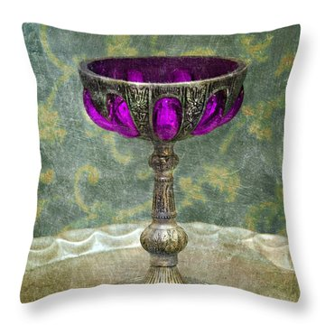 Silver Chalice With Jewels Throw Pillow by Jill Battaglia