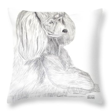 Throw Pillow featuring the drawing Silver Poodle by Maria Urso