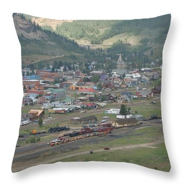Silverton Colorado Painterly Throw Pillow by Ernie Echols