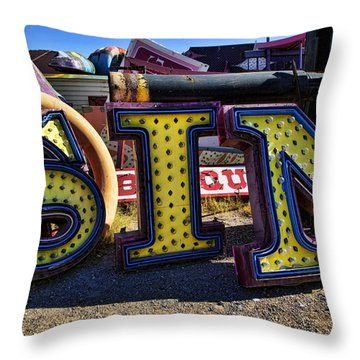 Sin Sign Throw Pillow by Garry Gay