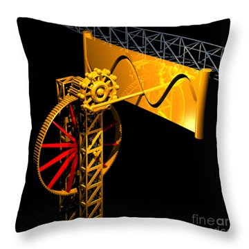 Sine Wave Machine Throw Pillow by Russell Kightley
