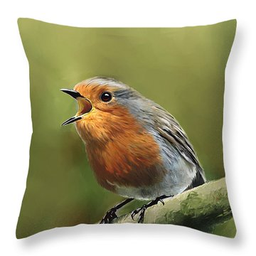 Sing Red Robin Sing Throw Pillow by Michael Greenaway