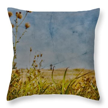 Singing In The Grass Throw Pillow by Empty Wall