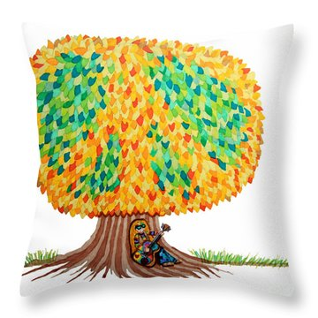 Singing Under The Peace Tree Throw Pillow by Nick Gustafson