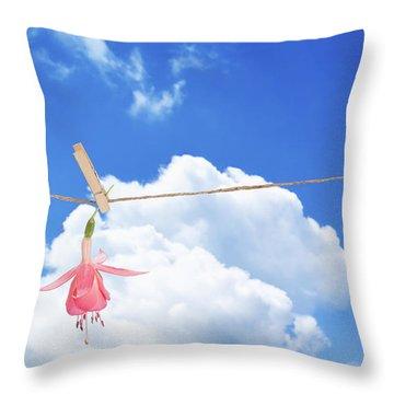 Single Fuchsia Head Throw Pillow by Amanda Elwell