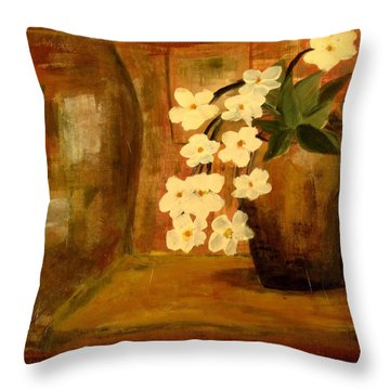Single Vase In Bloom Throw Pillow