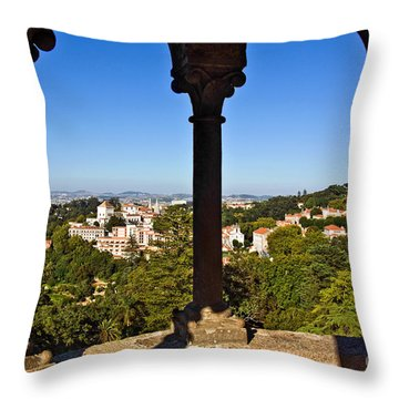 Sintra Balcony Throw Pillow by Carlos Caetano