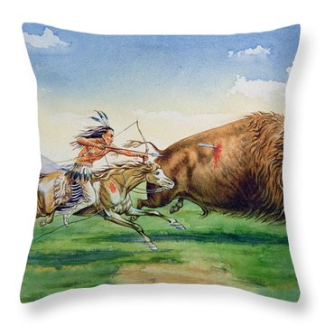 Sioux Hunting Buffalo On Decorated Pony Throw Pillow by American School