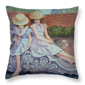 Sisters At The Fountain Throw Pillow
