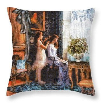 Sisters Throw Pillow by Mo T