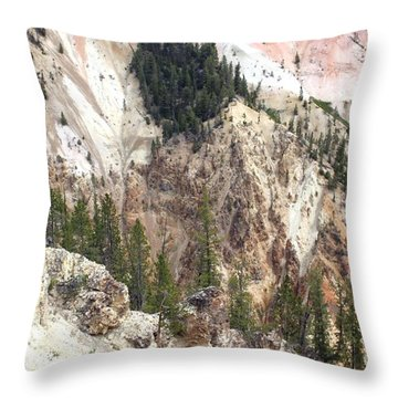 Throw Pillow featuring the photograph Sit For A Spell At Grand Canyon In Yellowstone by Living Color Photography Lorraine Lynch