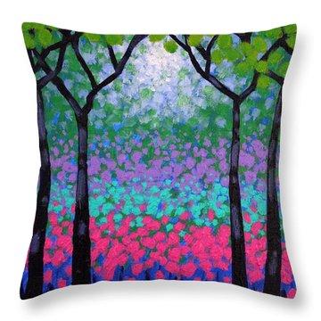 Six Trees Throw Pillow by John  Nolan