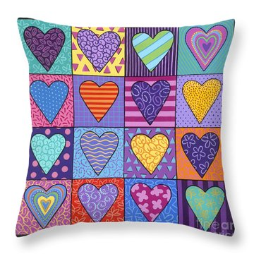 Throw Pillow featuring the painting Sixteen Hearts by Carla Bank