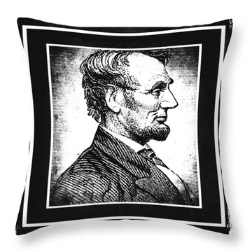 Sixteenth President Bw Throw Pillow by Angelina Vick