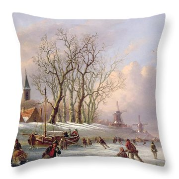 Skaters On A Frozen River Before Windmills Throw Pillow by Dutch School
