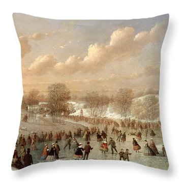 Skating Scene Throw Pillow by Johann Mongels Culverhouse