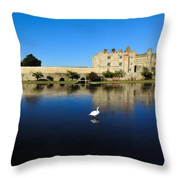 Skating Swans Throw Pillow