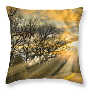 Skeletons At Sunset Throw Pillow by Debra and Dave Vanderlaan