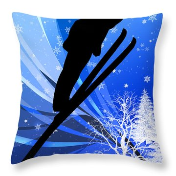 Ski Jumping In The Snow Throw Pillow by Elaine Plesser
