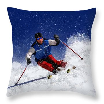 Skiing Down The Mountain Throw Pillow by Elaine Plesser