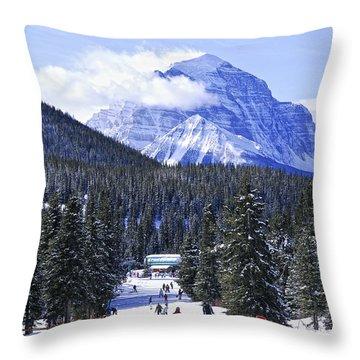 Skiing In Mountains Throw Pillow by Elena Elisseeva
