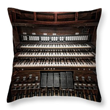 Skinner Pipe Organ Throw Pillow by Clarence Holmes