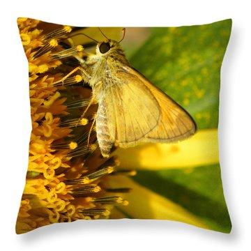 Skipper And Sunflower Throw Pillow by Sandi OReilly