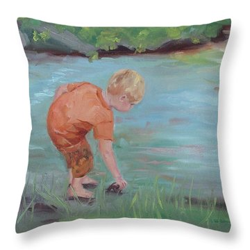 Throw Pillow featuring the painting Skipping Stones by Carol Berning
