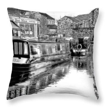 Skipton Canal Basin Throw Pillow by Trevor Kersley