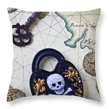 Skull And Cross Bones Lock Throw Pillow by Garry Gay
