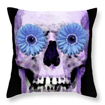 Skull Art - Day Of The Dead 3 Throw Pillow by Sharon Cummings