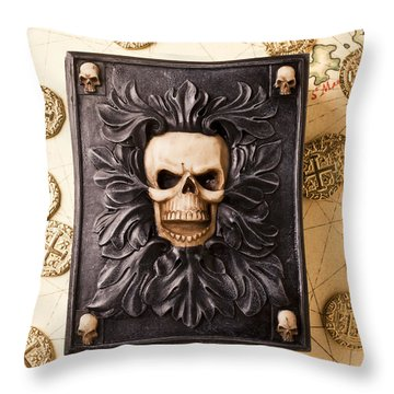 Skull Box With Skeleton Key Throw Pillow by Garry Gay