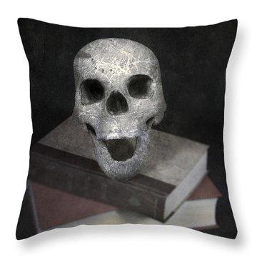 Skull On Books Throw Pillow by Joana Kruse
