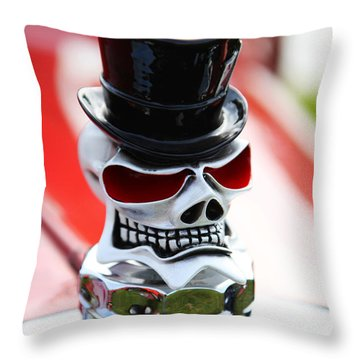 Skull With Top Hat Hood Ornament Throw Pillow by Garry Gay