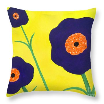 Throw Pillow featuring the painting Sky High Flowers by Alys Caviness-Gober
