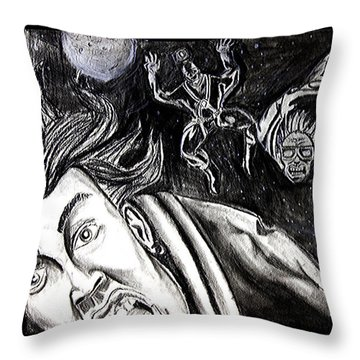 Throw Pillow featuring the drawing Skydiving Saturday Night  by eVol  i