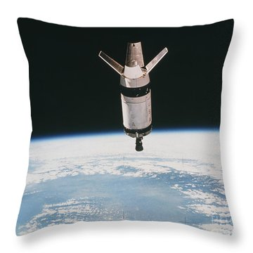 Skylab 3 Expended Second Stage In Earth Throw Pillow by NASA / Science Source