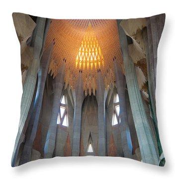 Skylight At Gaudi Cathedral Throw Pillow